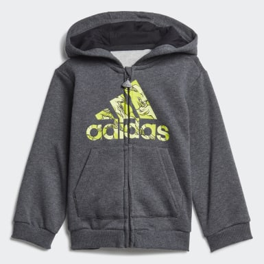 Kids Training Grey Fleece Hooded Jogger Set