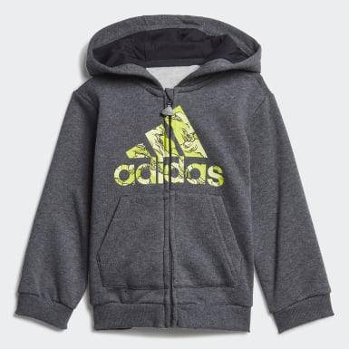 Børn Træning Grå Fleece Hooded joggingdragt