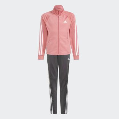 Girls Training Pink 3-Stripes Team Primegreen Track Suit