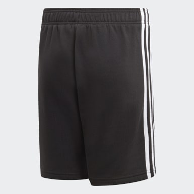 Shorts Malha Essentials 3-Stripes Preto Meninos Running