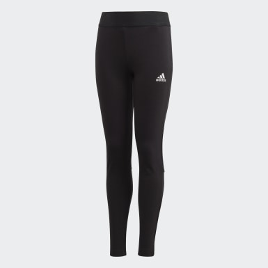 Youth 8-16 Years Yoga Black Must Haves 3-Stripes Leggings