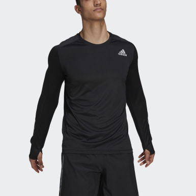 T-shirt Own the Run Long Sleeve Noir Hommes Sports D'hiver