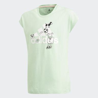 เด็ก โยคะ สีเขียว เสื้อยืด Cleofus