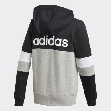 Boys Lifestyle Black Linear Colorblock Full-Zip Hoodie