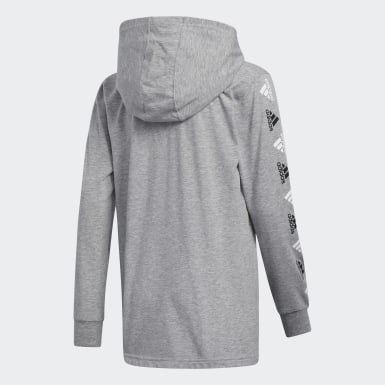Youth Training Grey Heathered Badge of Sport Hooded Tee
