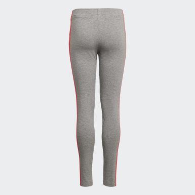 Mädchen Athletics Essentials 3-Streifen Tight Grau