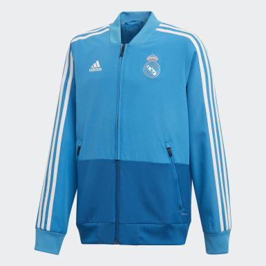 Kinder Fußball Real Madrid Präsentationsjacke Blau