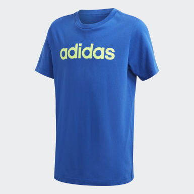 T-shirt Essentials Linear Logo bleu Adolescents Entraînement