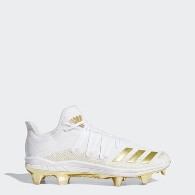 Men's Baseball White Afterburner 6.0 Gold TPU Cleats