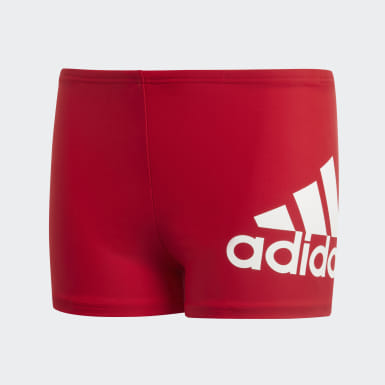 Jungen Schwimmen Badge of Sport Boxer-Badehose Rot