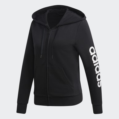 Hoodie Essentials Linear Nero Donna Athletics
