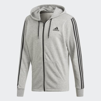 Men Athletics Grey Must Haves 3-Stripes French Terry Hoodie