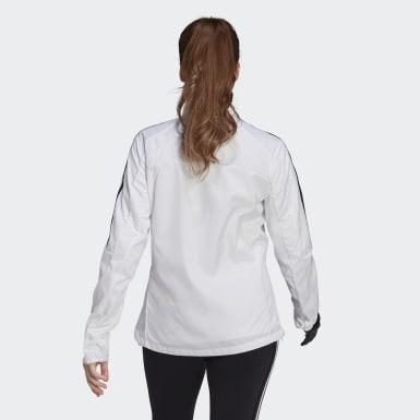 Kvinder Løb Hvid Marathon 3-Stripes træningsjakke