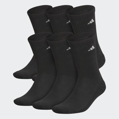 Men's Training Black Athletic Cushioned Crew Socks 6 Pairs XL