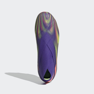 Bota de fútbol Nemeziz+ césped natural seco Violeta Niño Fútbol