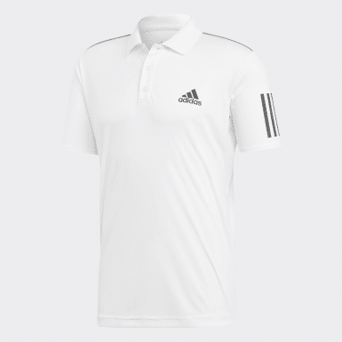 Men Tennis White 3-Stripes Club Polo Shirt