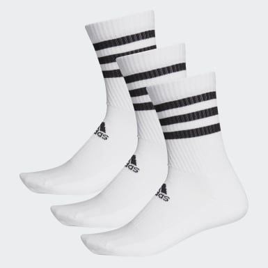 Basketball White 3-Stripes Cushioned Crew Socks 3 Pairs