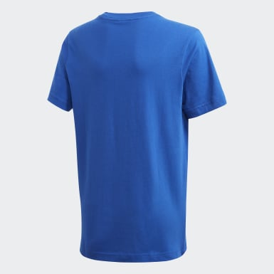 Remera Essentials Linear Logo Azul Niño Training