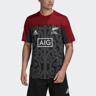Heren Rugby Zwart Māori All Blacks Performance Shirt
