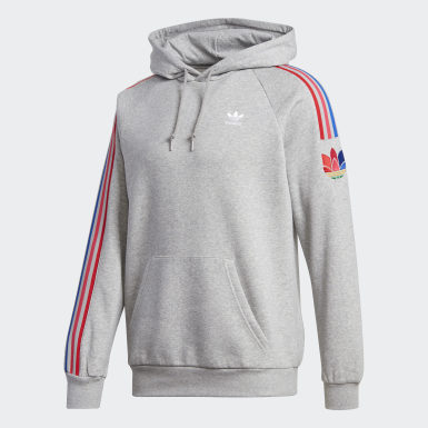 Men's Originals Grey Adicolor 3D Trefoil 3-Stripes Hoodie