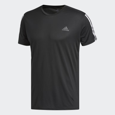 Men Running Black Running 3-Stripes T-Shirt