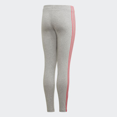Girls Training Grey Essentials 3-Stripes Tights