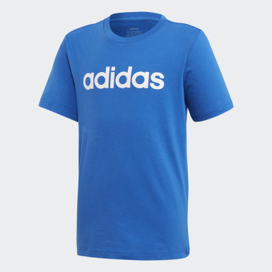 Boys Athletics Blue Essentials Linear Logo Tee