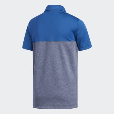 Boys Golf Blue Heather Colorblock Polo Shirt