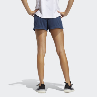 Women Running Blue Pacer 3-Stripes Knit Shorts
