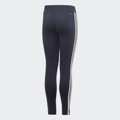 Girls Yoga Blue Equip 3-Stripes Tights