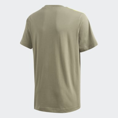 Remera Essentials 3 rayas Verde Niño Yoga