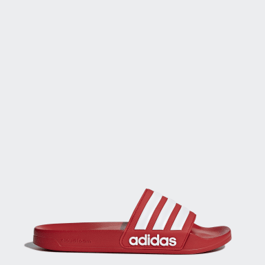 Men's Essentials Red Adilette Cloudfoam Slides
