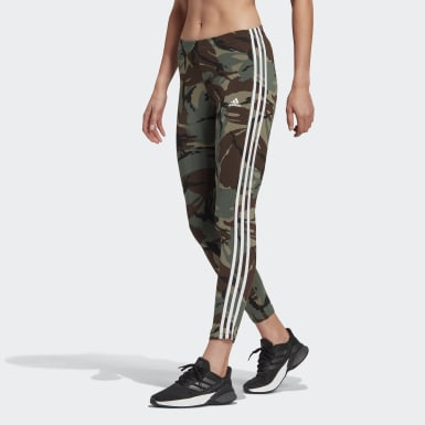 Women Athletics Green adidas Essentials Camouflage 3-Stripes 7/8 Leggings