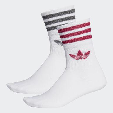 Mid-Cut Glitter Crew Socken, 2 Paar
