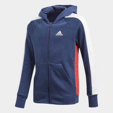 Kinder Athletics adidas Athletics Club Kapuzenjacke Blau