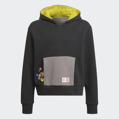Sweat-shirt à capuche adidas x Classic LEGO® Bricks Boxy Noir Filles Training