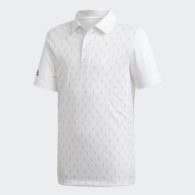 Boys Golf White Graphic Print Polo Shirt