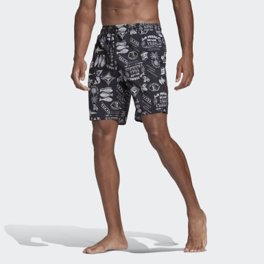Men Swimming Black Classic-Length Graphic Swim Shorts