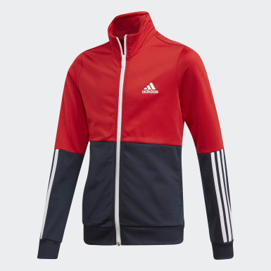 Youth Sport Inspired Red Polyester Track Suit