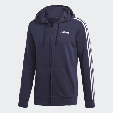 Mænd Athletics Blå Essentials 3-Stripes hættetrøje