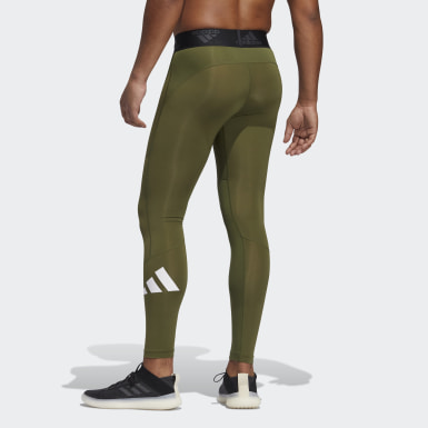 Men Running Green Techfit Long Tights