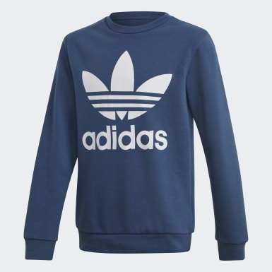 Sweat-shirt Trefoil Crew Bleu Enfants Originals