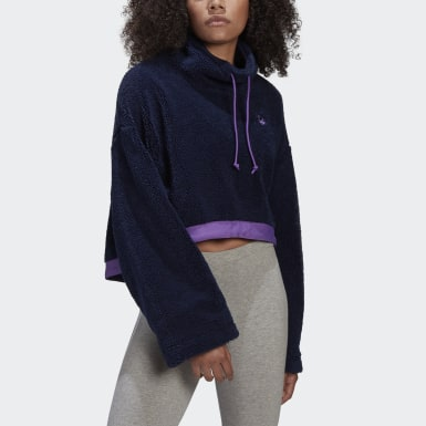 Dam Originals Blå Cropped Fleece Sweatshirt