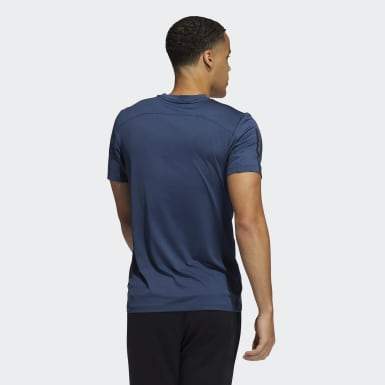 Men Running Blue Primeblue AEROREADY 3-Stripes Slim T-Shirt