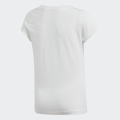 Girls Yoga White Essentials Linear Tee