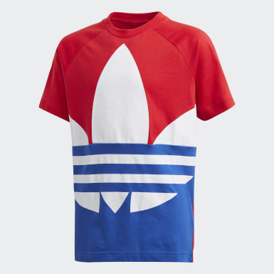 เด็ก Originals สีแดง เสื้อยืดโลโก้ Trefoil ขนาดใหญ่