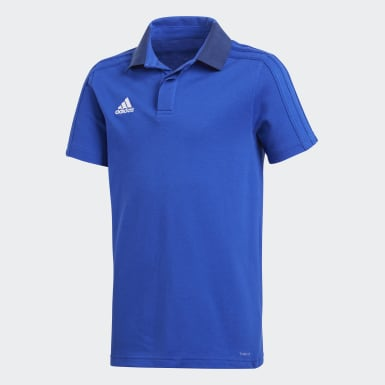 Youth 8-16 Years Football Blue Condivo 18 Cotton Polo Shirt