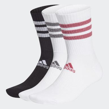 Tennis Glam 3-Streifen Cushioned Sport Crew Socken, 3 Paar Weiß
