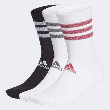 Tennis White Glam 3-Stripes Cushioned Crew Sport Socks 3 Pairs