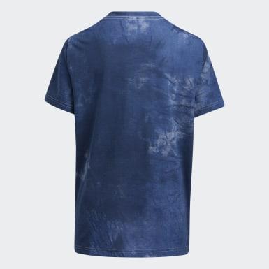 T-shirt Tie-Dye Badge of Sport bleu Enfants Entraînement